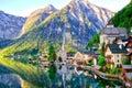 Beautiful view of Alpine Hallstatt town and Hallstattersee lake. Salzkammergut, Austria. Royalty Free Stock Photo