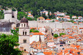 Beautiful view of the ancient mediterranean city of stone with tiled roofs Royalty Free Stock Image