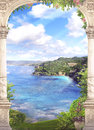 Beautiful view from the balcony on the sea Royalty Free Stock Photo