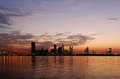 Beautiful view during blue hours a of bahrain skyline sunset Stock Photo