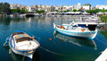 Beautiful view of boats on the lake in greece voulismeni Stock Photography