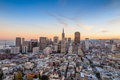 Beautiful view of  business center in downtown San Francisco Royalty Free Stock Photo
