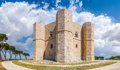 Beautiful view of Castel del Monte, the famous castle built in an octagonal shape by the Holy Roman Emperor Frederick II in Apulia Royalty Free Stock Photo
