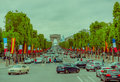 Beautiful view of Champs Elysees and Arc de Triomphe Royalty Free Stock Photo