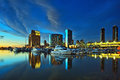 Beautiful view of city skyline with harbor at sunset, San Diego, California, USA Royalty Free Stock Photo