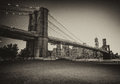 Beautiful view at dusk of brooklyn bridge from brooklyn park n new york Stock Photo