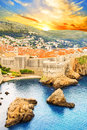 Beautiful view of the fortress wall and the gulf of the historic city of Dubrovnik, Croatia Royalty Free Stock Photo