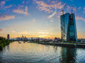 Beautiful view of Frankfurt am Main skyline and European Central Bank at dusk, Germany Royalty Free Stock Photo