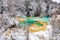 Beautiful view of frozen lake in Huanglong Royalty Free Stock Photo