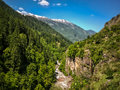Beautiful view of Himalayan mountains on the trekking route to Kheerganga, Nakthan, Parvati valley, India Royalty Free Stock Photo