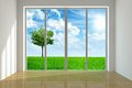 Beautiful view large window with to a landscape Stock Photography