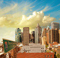 Beautiful view of Lower Manhattan Skyline and tall Skyscrapers - Royalty Free Stock Images