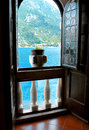 Beautiful view of the mediterranean sea and the mountains from window Royalty Free Stock Photos