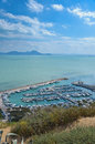 Beautiful view of the mediterranean sea from sidi bou said tunisia Royalty Free Stock Image
