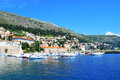 Beautiful view of the mediterranean tourist town with a pier and yachts Royalty Free Stock Photography