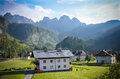 Beautiful view of the morning mountains in the Gosau village Royalty Free Stock Photo