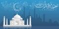 Beautiful view of a mosque on blue background, concept for Islamic holy month of prayers, Ramadan Kareem ,Eid Mubarak celebratio