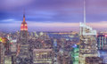 Beautiful view of new york city skyline after sunset Royalty Free Stock Image
