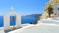 Beautiful view of oia in santorini at noon Stock Image