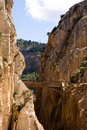 Beautiful view of old bridge in El Chorro gorge Royalty Free Stock Photos