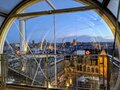 Beautiful view of Paris at sunset time from inside Pompidou center Royalty Free Stock Photo