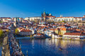 Beautiful view on Prague Castle and Charles Bridge, Prague, Czech Republic Royalty Free Stock Photo