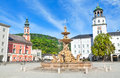 Beautiful view of residenzplatz with famous residenzbrunnen in salzburg salzburger land austria Royalty Free Stock Photography