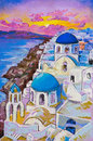 Beautiful view of santorini at sunset original pastel paintings on cardboard Royalty Free Stock Photos