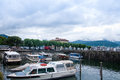 Beautiful view of the small port of stresa Royalty Free Stock Photo