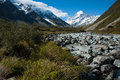 Beautiful view of snow mountain during walk to Mount Cook, South Island, New Zealand Royalty Free Stock Photography