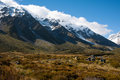 Beautiful view of snow mountain during walk to Mount Cook, South Island, New Zealand Royalty Free Stock Images