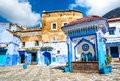 Beautiful view of the square in the blue city of Chefchaouen. Location: Chefchaouen, Morocco, Africa. Artistic picture. Beauty Royalty Free Stock Photo
