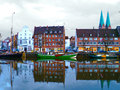 Beautiful view to the trave in luebeck with reflections in the h harbor Royalty Free Stock Photography