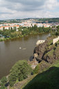 Beautiful view of Vysehrad on the river Vltava and city of Pragu Royalty Free Stock Photo