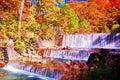 Beautiful view of waterfall in Nyuto onsen hot spring resorts Royalty Free Stock Photo