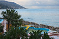Beautiful views of the hotel grounds and the sea from the room balcony. Marina di Patti. Sicily Royalty Free Stock Photo