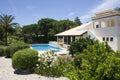 Beautiful villa with a healthy garden and a pool Stock Photos