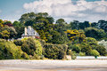 Beautiful village of Morgat with the sand beach and rocky coastl Royalty Free Stock Photo
