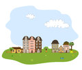 Beautiful village town or neighborhood on green h hills vector Stock Photo