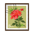 Beautiful Vinatge Flower Stamp Stock Photography