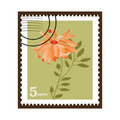 Beautiful Vintage Chrysanthemum Stamp Stock Photos