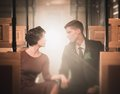 Beautiful vintage couple style inside retro train coach Royalty Free Stock Photos