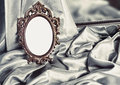 Beautiful vintage frame is a silver silk Royalty Free Stock Photos