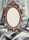 Beautiful vintage frame is a silver silk Stock Image