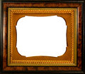 Beautiful vintage frame wooden with embellished metallic insert on a white background Royalty Free Stock Images