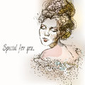 Beautiful vintage girl. Watercolor illustration in vector. Vintage Postcard Royalty Free Stock Photo