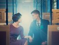 Beautiful vintage style couple inside retro train coach Royalty Free Stock Images