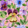 Beautiful viola flowers with green leaves on pink background. Seamless floral pattern. Vibrant colors. Watercolor painting.
