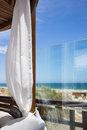 Beautiful vista from a beach gazebo in potugal Royalty Free Stock Image