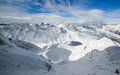 Beautiful vista of snow covered mountain peaks Royalty Free Stock Image
